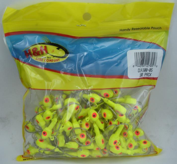 H&H Lure D14100-05 Double Eye Saltwater Jigheads 1 4 oz Chartruese 100CT 24480