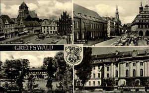 Greifswald-AK-1968-DDR-Mehrbildkarte-Platz-der-Freundschaft-Universitaet-Bahnhof