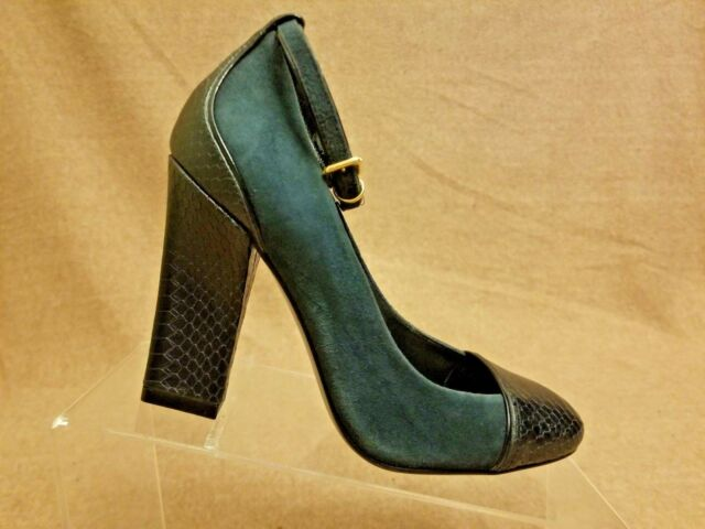 3487deb3e New Tory Burch Women Shoes Snake Blue Leather Suede Ankle Strap Sandals Sz  6.5 M