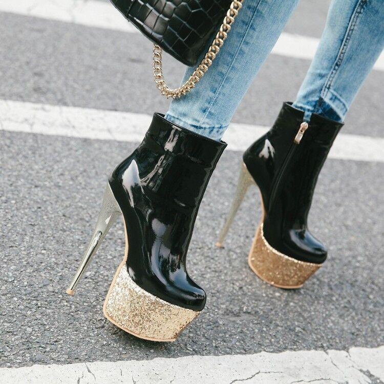 femmes Platform Pump Mid Calf bottes Sequins Sexy Nightclub High Heel chaussures