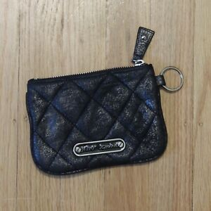 Betsey-Johnson-Wallet-Black-Quilted-Design-Studded-Metallic-Pouch