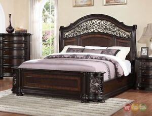 check out 18778 de1ea Details about Allison Ornate Wrought Iron 5pc King Bedroom Set in Dark Wood  Finish
