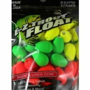 Yellow Leland 36 Slotted Bobber E-Z Trout Floats Green Red 87666