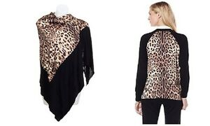 CLEVER-CARRIAGE-COMPANY-BLACK-CARDIGAN-SWEATER-LEOPARD-L-MAGIC-WRAP-SCARF