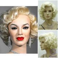 Marilyn Monroe Beautiful Short Blonde Curly Wigs Hair Classic Cosplay Wigs