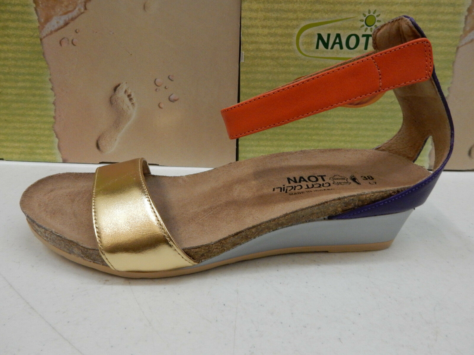 NAOT Donna SANDALS PIXIE GOLD PURPLE ORANGE SIZE EU 40