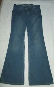 American-Eagle-Junior-039-s-Size-2-Regular-Low-Rise-Flare-Medium-Wash-Cotton-Jeans