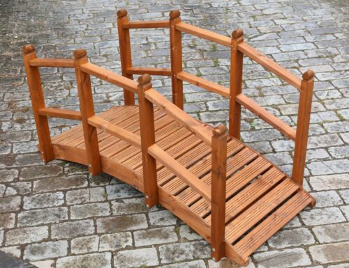 AFK Oriental Wooden Garden Bridge Small or Large Luxury Decked Beech Stain