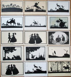 Silhouette-1920s-Postcards-Artist-Signed-COLLECTION-OF-TWENTY-SIX