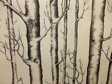 2m Silver Birch Tree Photo Digital Printed Designer Cotton Upholstery Fabric