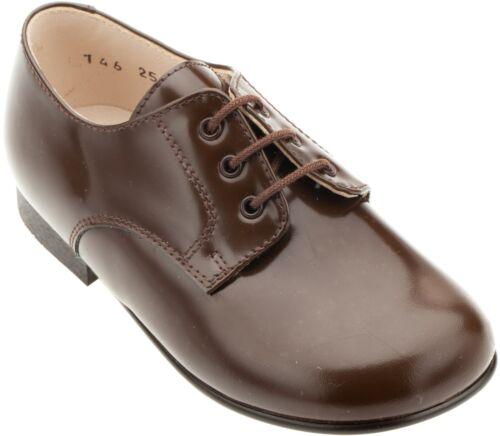 Beberlis Boys Brown Patent Leather Plain Toe Lace-up Oxfords 146