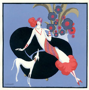 1930s-French-Pochoir-Print-Edouard-Halouze-Art-Deco-Flapper-With-Hound-Dog-S