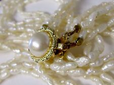VINTAGE FIVE STRAND NECKLACE OF FRESH WATER RICE PEARLS GOLD ON SILVER CLASP