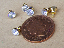 6 Crystal & Metal Handles Door Knobs Dolls House Miniature Furniture Drawer
