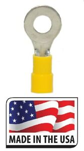50-12-10-AWG-1-4-034-Yellow-Vinyl-Ring-Terminal-Electrical-Connector-Made-In-USA