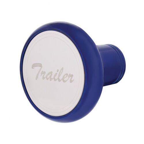 """/""""Trailer/"""" Deluxe Aluminum Screw-On Air Valve Knob w Stainless Plaque-Indigo Blue"""