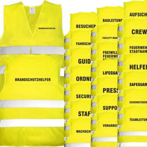 Warnweste gelb mit Text bedruckt Rückendruck Brustdruck Sicherheitsweste Weste