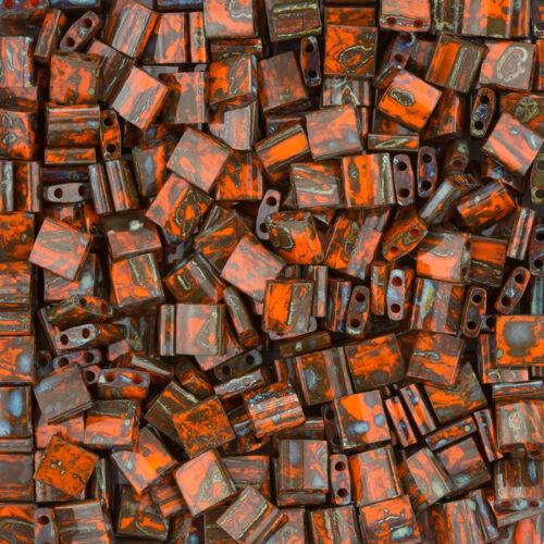 K86//8 Miyuki Tila Beads TL4520 Opaque Orange Picasso 5mm 7.2g