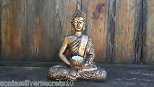 Large Sitting Thai Buddha Statue Tealight Holder Ornament Rustic Gold