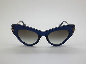 bf00ca20c6ae NEW MIU MIU SMU 04P 0AX-0A7 Blue Cat-Eye 49mm Sunglasses