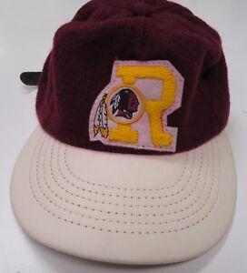 4310a3d8 Details about Vintage Washington Redskins Wool Hat Cap Strapback Wool Patch  R Logo Furry