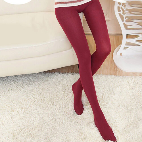 Damen Thermo Leggings Hose Baumwolle Ohne Muster Fleece Dick Weich Lange Socken
