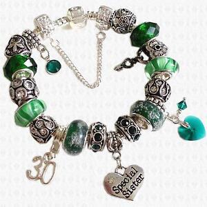 EMERALD Green MAY Personalised Charm Bead Bracelet SWAROVSKI ... 22d226fdb9