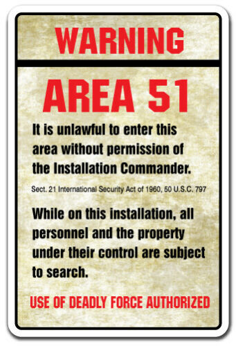 WARNING AREA 51 Decal spaceship aliens outer space moon spacecraft