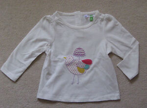 NEW-Ex-John-Lewis-Bebe-Applique-Camiseta-Top-Ave-NB-A-3-anos