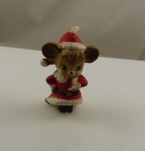 Mouse-santa-suit-plastic-vintage-Christmas-ornament-xmas