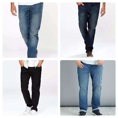 New Mens Straight Leg Regular Fit Plain Denim Jeans All Waist /& Sizes