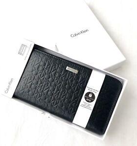 Details zu Damen Calvin Klein CK RFID Geldbörse Portemonnaie Geldbeutel Schwarz Leder