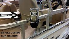 Diamond Plate 1 JUMBO Cup Holder Fits 1 Inch Pontoon Boat Rail Holds A Yeti