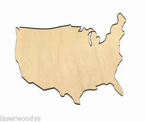 Continental-USA-Unfinished-Wood-Shape-Cut-Out-US223-Crafts-Lindahl-Woodcrafts