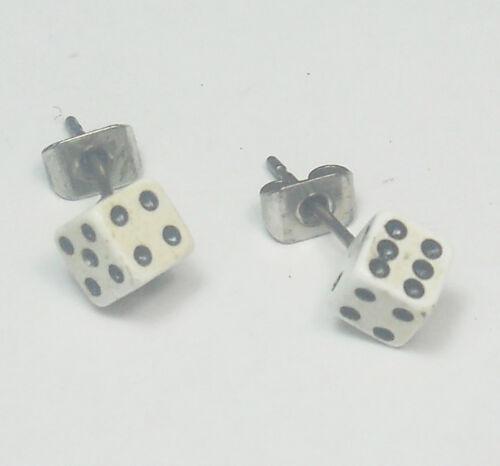Individuales de acero inoxidable pendientes arete cubo blanco rockabilly-Design