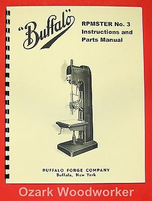 BUFFALO No 3 RMPster Drilling Machine Owner/'s Instructions Parts Manual 0958