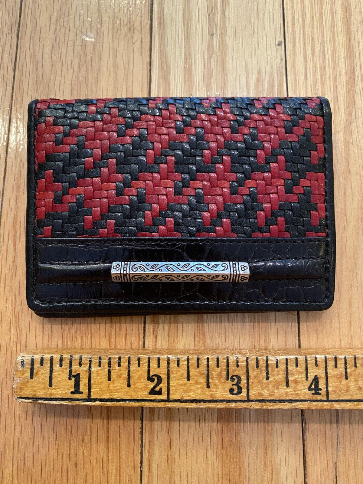 Brighton Black & Red Oxford Card Case, Woven Herringbone Design