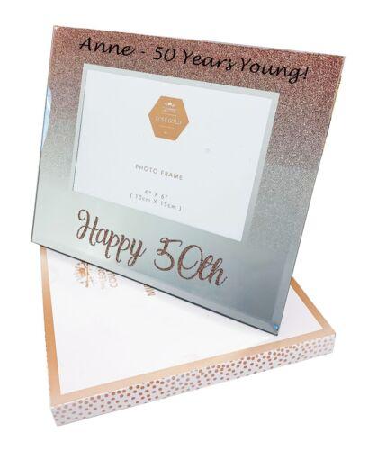 Personnalisé 50th Anniversaire Cadeaux Cadre Photo femmes nom âge heureux son or rose