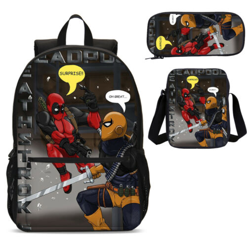 Deadpool Deathstroke Kids Backpack Insulated Lunch Box Sling Bag Pencil Case Lot