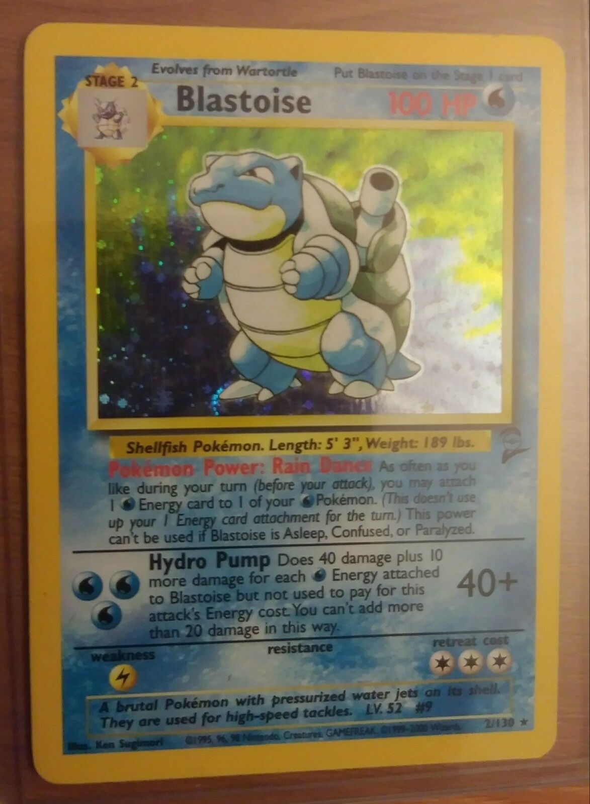POKEMON BLASTOISE 2 130 BASE SET 2 HOLO FOIL PLAYED CONDITION REAL SCAN