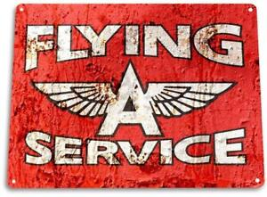 Flying-A-Service-Gas-Oil-Metal-Decor-Fuel-Station-Sign
