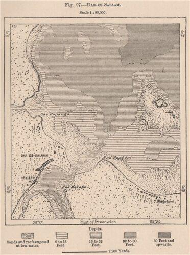 Tanzania Dar-Es-Salaam German East Africa 1885 old antique map plan chart
