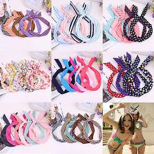 5Pcs Girls Bunny Rabbit Ear Ribbon Metal Wire Headband Scarf Hair Head Band Bow