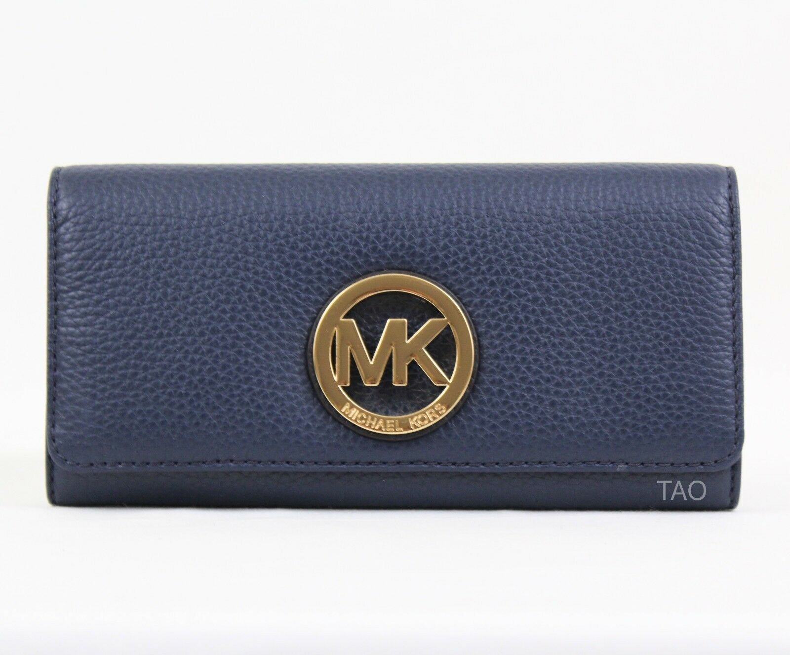 e36c93b23af1 Michael Kors Fulton Flap CONTINENTAL Clutch Wallet Navy Leather for ...