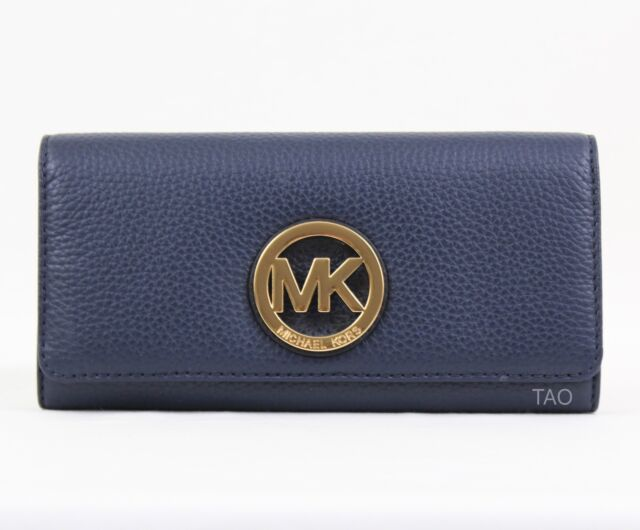 ef86af016698db Michael Kors Fulton Flap Continental Wallet Clutch Navy Pebble Leather New  NWT