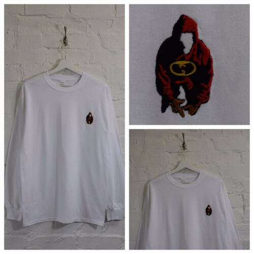 Actual Fact Wu Tang Clan Embroidered Mask White Long Sleeve Tee T-shirt