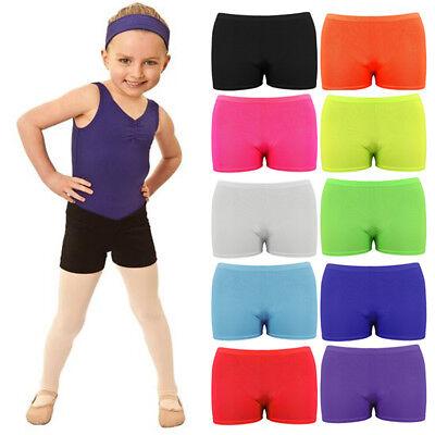 NUOVO Bambini Kids Neon Elasticizzato Lycra Hot Pants Pantaloncini-Pantaloncini Danza-Partito Wear
