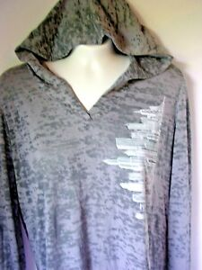 Women-039-s-Chicago-Skyline-Burnout-Hoodie-Grey-Sweatshirt-Hood-Hand-Printed-Design