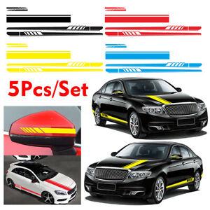 5pcs-Bande-Sticker-Autocollant-Vinyle-Retroviseur-laterale-Long-Carrosserie-Auto