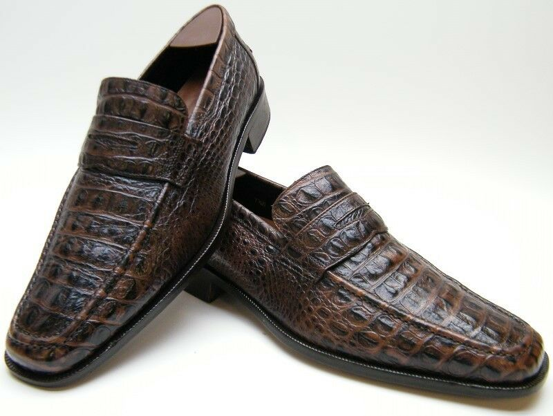 DONALD J PLINER RITTER BRN ALLIGATOR CROCO PRINT LOAFER DRESS SHOES SZ 7.51 2 M